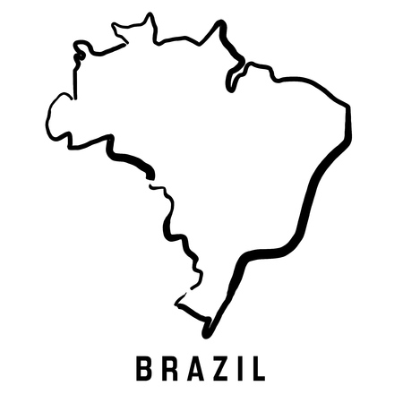 Brazil map outline - smooth simplified country shape map vector.