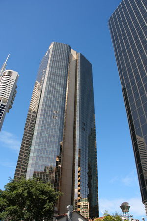 amp tower: BRISBANE, AUSTRALIA - MARCH 22, 2008: AMP Place building (middle) in Brisbane, Australia. The 135m tall building is among 20 tallest in Brisbane (2013).