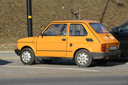 KATOWICE, POLAND - MARCH 5, 2017: Retro Fiat 126P car parked in Katowice, Poland. Polski Fiat 126P is an icon of Polish motor industry.