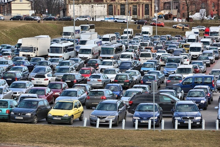 KATOWICE, POLAND - MARCH 5, 2017: Full car park for an event in International Convention Centre in Katowice, Poland.
