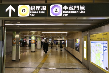 TOKYO, JAPAN - NOVEMBER 30, 2016: People visit Tokyo Metro station in Japan. With more than 3.1 billion annual passenger rides, Tokyo subway system is the busiest in the world.