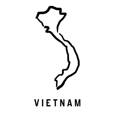 Vietnam simple map outline - smooth simplified country shape map vector.