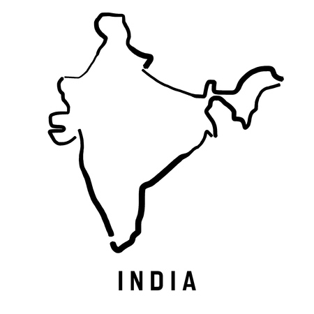 India simple map outline - smooth simplified country shape map vector.