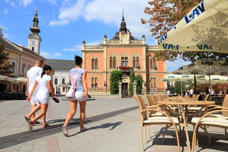 NOVI SAD, SERBIA - AUGUST 14, 2012: People visit Old Town in Novi Sad, Serbia. In 2011 Serbia had more than 2 million tourist arrivals and Novi Sad is the 2nd most visited town.