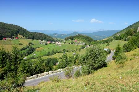 Mountain road in Piatra Craiului mountains of Romania.