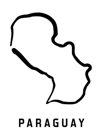 Paraguay map outline - smooth simplified country shape map vector.