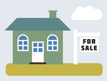 yard sale: House for sale - simple vector real estate illustration.