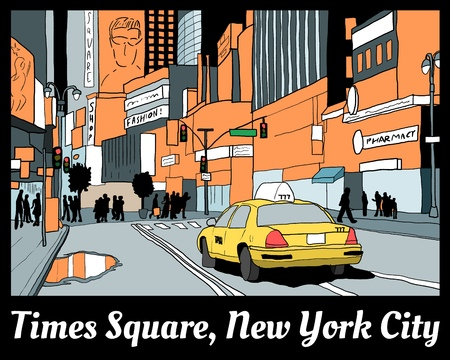 Times Square night view - colorful New York City illustration with yellow cab.