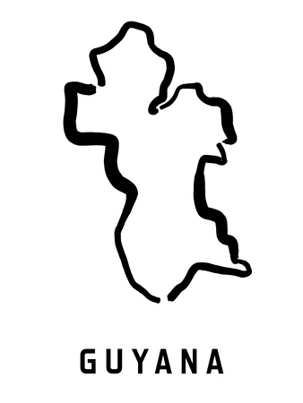 mapa conceptual: Esquema de mapa de Guyana - mapa de mapa de forma simplificada país suave. Vectores