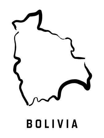 map bolivia: Esquema del mapa de Bolivia - vector simplificado simplificado del mapa de la forma del país.