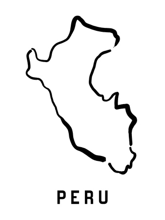 Peru map outline - smooth simplified country shape map vector. Illustration