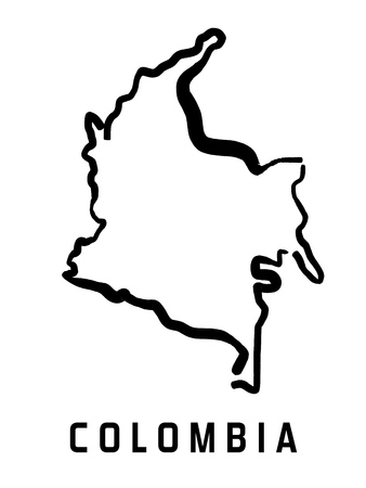 Colombia map outline - smooth simplified country shape map vector.