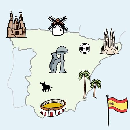 Spain landmarks map - cute doodle vector illustration with Madrid, Barcelona, Santiago de Compostela, Seville and football. Ilustração