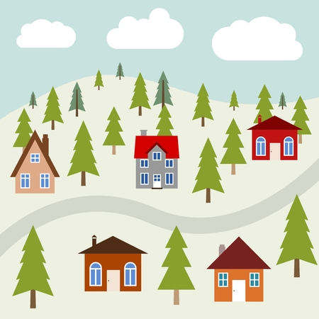 Mountain town vector illustration - colorful homes and forest trees.