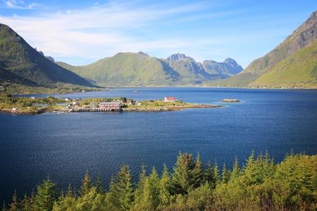 Norway landscape - Sildpollnes church in Vestpollen, Lofoten islands.