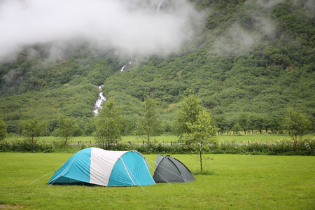 Camping in Norway - tents at a campground in Gudvangen. Stock Photo