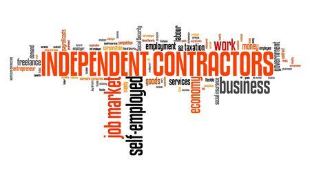 contracting: Independent contractors - job market and economy word cloud.