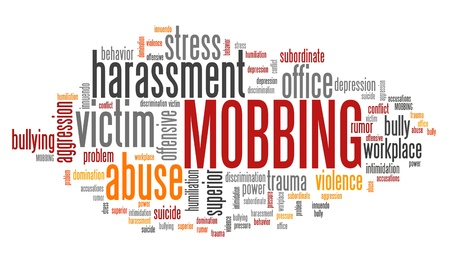 Mobbing - work place harassment problem. Employment word cloud. Stock Photo