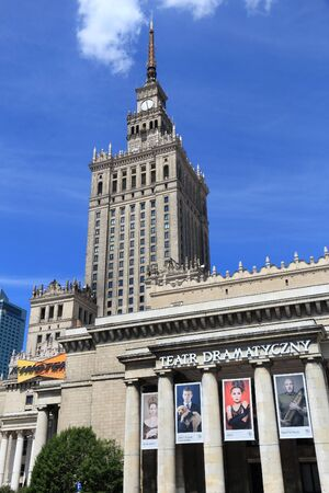 WARSAW, POLAND - JUNE 19, 2016: Exterior view of Palace of Culture and Science in Warsaw, Poland. Warsaw is the capital city of Poland. 1.7 million people live here. Editorial