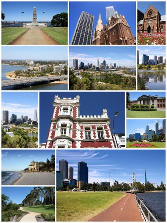 perth: Perth, Australia - photo collage with city skylines and landmarks.