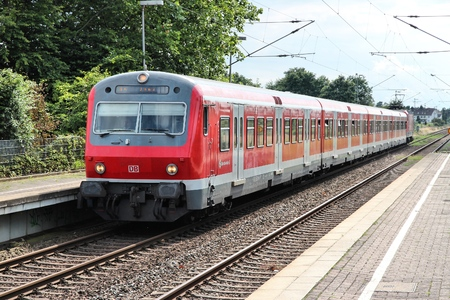 UNNA, GERMANY - JULY 15, 2012: DB train of Deutsche Bahn in Unna, Germany. DB employs 276 thousand people and had 34.4 billion EUR revenue in 2010.