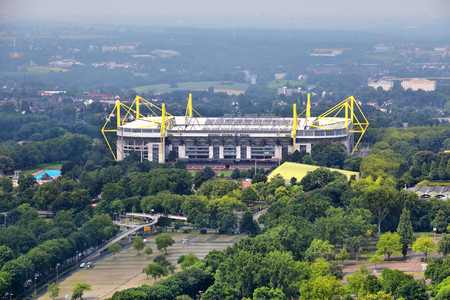 DORTMUND, GERMANY - JULY 16, 2012: Signal Iduna Park stadium in Dortmund, Germany. Also known as Westfalenstadion, the Borussia Dortmund venue featured many UEFA and FIFA matches. Editorial