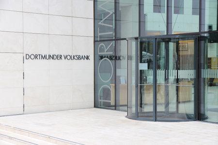 DORTMUND, GERMANY - JULY 15, 2012: Dortmunder Volksbank headquarters in Dortmund, Germany. The bank has 57 branches in Germany.