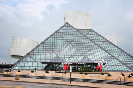 CLEVELAND, USA - JUNE 29, 2013: Exterior view of Rock and Roll Hall of Fame in Cleveland. It is a famous museum established in 1983, depicting history of influential rock artists. Redakční