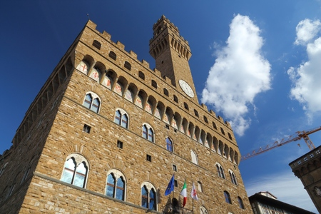 Palazzo Vecchio in Florence, Italy. Old town romanesque architecture in Tuscany. Stock Photo
