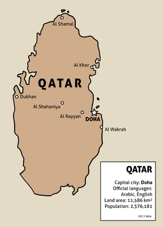 Qatar map. Outline illustration country map with main cities and data table. Illustration