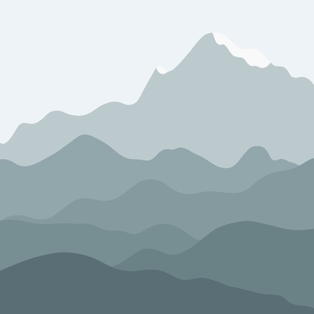 Vector landscape - mountain background. Hills and mountains layers. Illustration