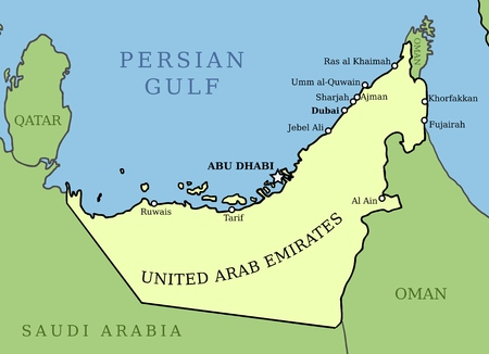 United Arab Emirates map. Outline graphics country map with main cities.