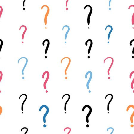 Question marks - hand written ink style simple doodle vector background.
