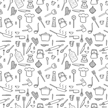 Cooking utensils and kitchen tools - seamless background doodle vector. Illustration