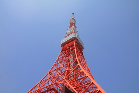 TOKYO, JAPAN - MAY 10, 2012: Tokyo Tower structure view in Japan. It is a communications and observation tower in Shiba-koen neighborhood of Minato, Tokyo. Editorial