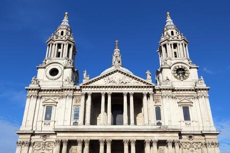 st pauls: London, UK. Saint Pauls Cathedral facade architecture.