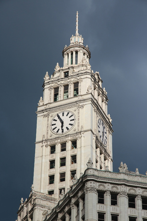 CHICAGO, USA - JUNE 28, 2013: Wrigley Building in Chicago. The building was completed in 1924 and is 130m tall. It is clad in glazed terra-cotta. Editorial