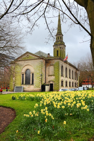 Birmingham, UK. St. Pauls Church in spring time. Stock Photo