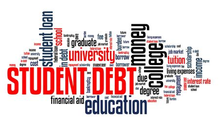 Collage debt - university tuition loan word collage.