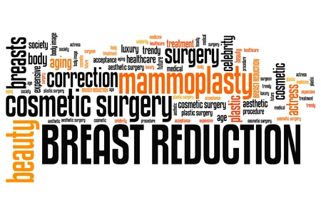 Breast reduction - cosmetic surgery. Word cloud concept.