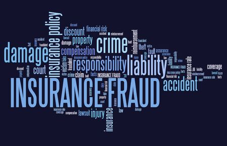 keyword: Insurance fraud - financial crime. Word cloud concept.
