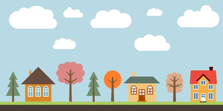 Small town life - cute village vector illustration. Residential suburb. Imagens - 78418150