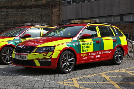 LONDON, UK - JULY 6, 2016: Advanced Trauma Team vehicle supporting Londons Air Ambulance. It is part of National Health Service (NHS) in the UK. Editorial
