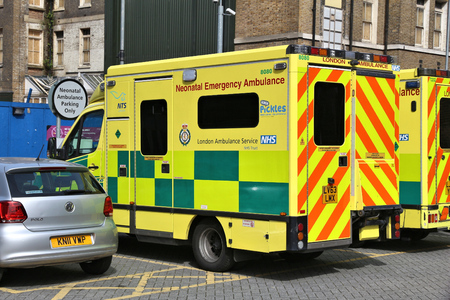 LONDON, UK - JULY 6, 2016: London Ambulance Service operated Neonatal Emergency Ambulance. It is part of National Health Service (NHS) in the UK.