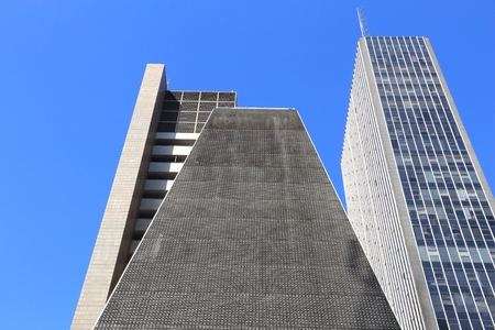 SAO PAULO, BRAZIL - OCTOBER 6, 2014: FIESP Building at Avenida Paulista avenue, Sao Paulo. The pyramid shaped building is one of most recognizable in Sao Paulo skyline.