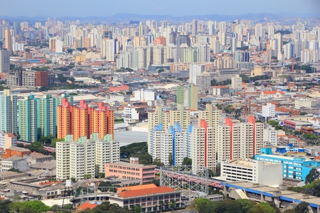 Aerial view of Sao Paulo, Brazil. Apartment buildings and condominiums.