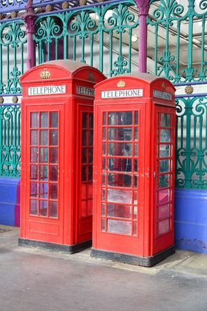 London telephone - red phone booths in England. Stock Photo