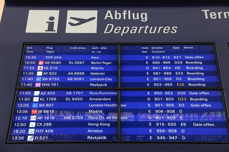 FRANKFURT, GERMANY - DECEMBER 6, 2016: Departures info screen of Frankfurt International Airport in Germany. It is the 12th busiest airport in the world with 61 million passengers in 2015.
