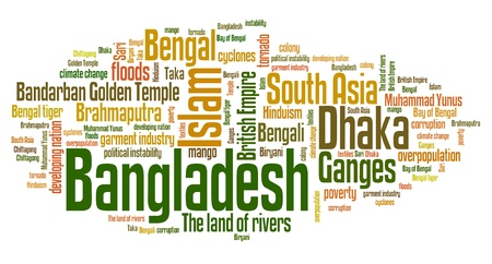 Bangladesh - Asian country word cloud illustration. Word collage.