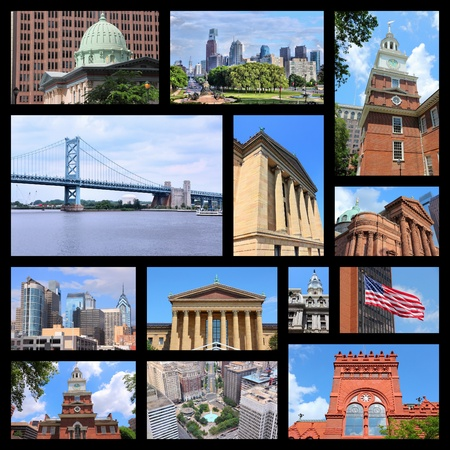 Philadelphia, United States. Photo collage with places and landmarks.